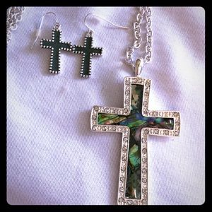 Jewelry - Silver and Green Opal Cross Necklace Earrings Set